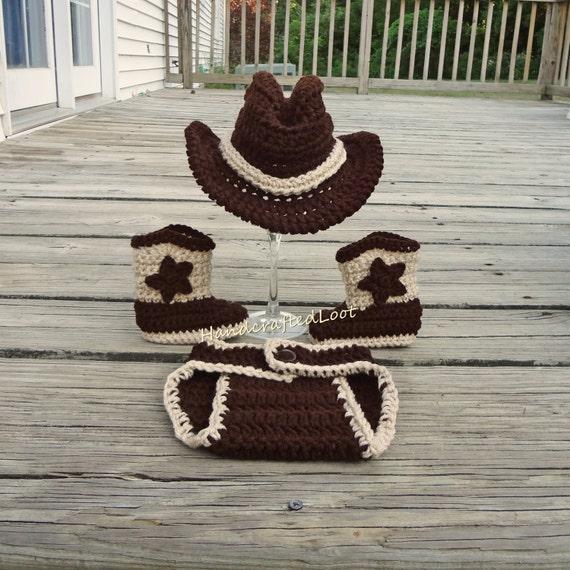 67e80c996d1 Crochet Baby Cowboy Outfit Cowboy Hat and Boots Set Newborn