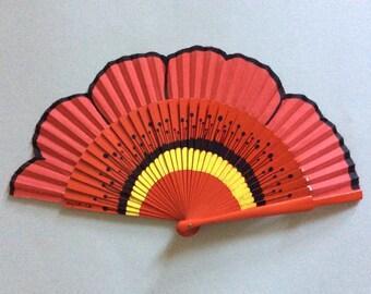 """Hand Fan hand painted """"poppy flower"""""""