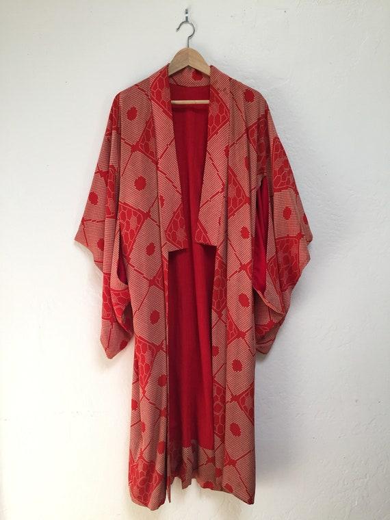 Kimono Antique Japanese Kimono Red Patterned Vinta