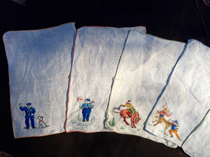 Vintage Embroidered Hankies with Figures Hand Stitched Embroidery Mid-Century Modern House Wares Cowboys Southwestern Motif Hankies