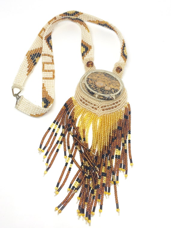 Handmade 1970s Beaded Macrame Necklace One of A Ki