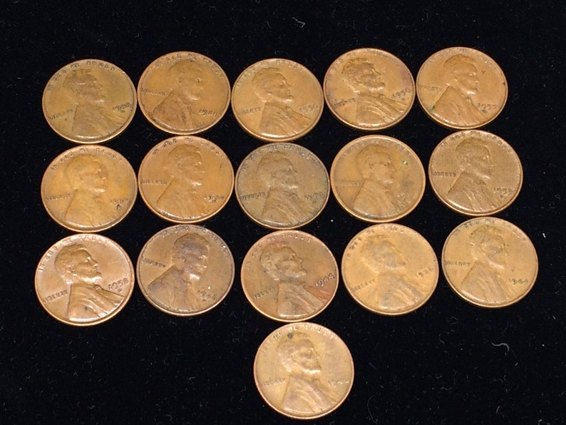 Wheat Pennies Old Time pennies Circulated Vintage Pennies ONE CENT PENNIES  Collectable Pennies 16 Pennies 1940s Penny