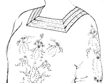 Womens Blouse Pattern 1910s Edwardian Pigeon Bust  sz,34-48 Embroider or Print Fabric w/ Lace around Square Neckline, Sleeves, Sewing Manual
