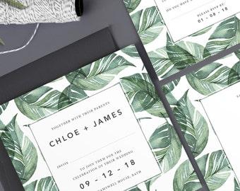 Chloe wedding invitation collection - Green
