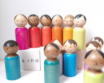 Friends Doll Set rainbow multicultural peg people, waldorf wooden play sets, imaginative play sets, loose parts play