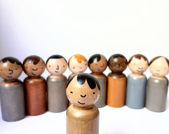 Hand painted wooden peg dolls , neutral colours multicultural toys, waldorf play sets, imaginative play sets, wood toy