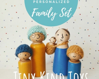 Custom Doll Family with Accessories - Diverse Wooden Toys for Kids - Multicultural Family Dolls - Imaginative Play for kids