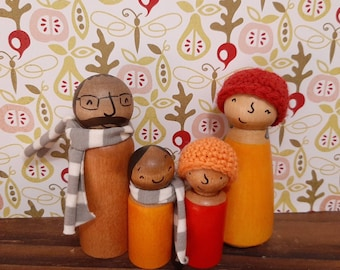 Wooden Doll Family with Accessories - Custom Natural Toys for Kids - Multicultural and ethnic Family Peg people - Imaginative Play for kids