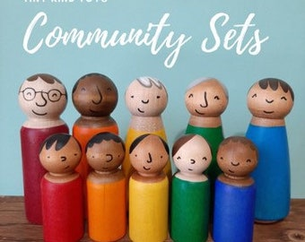 Peg Doll Community Diverse Toys - Bright Rainbow Colours- Doll House - Diverse Family sets - Imaginative Play, Modern Multicultural people