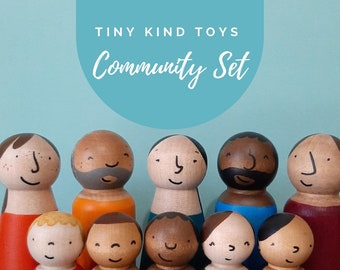 Community Wooden Doll Set of Ten , A bright rainbow of coloured dolls, in a mix of cultures, ages and genders.