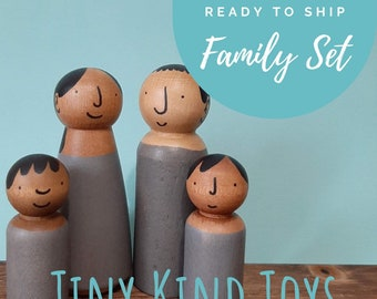 Family Wooden Doll Set of 4 - Diverse Wood Toys for Kids - Imaginative Role Play, Multicultural peg dolls