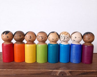 Personalized wooden doll set of 8, multicultural kindergarten toys, waldorf play sets, social skills, emotional development and inclusion
