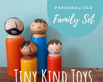Peg wooden Doll Family - Waldorf Toys for Kids - Diverse Families - Imaginative Play, Modern Multicultural people