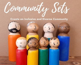 Personalized Community Doll Set - Bright Rainbow Colours- Doll House - Diverse Family sets - Imaginative Play, Modern Multicultural people