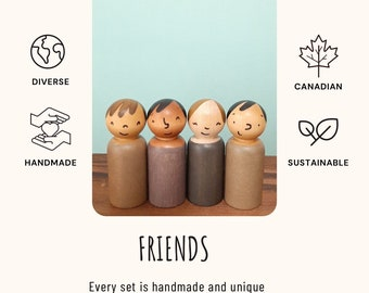 Friends wooden doll sets, multicultural toys, diverse waldorf play sets, imaginative play sets