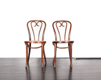 Pair of Vintage Bentwood Cafe Chairs with Cane Seats