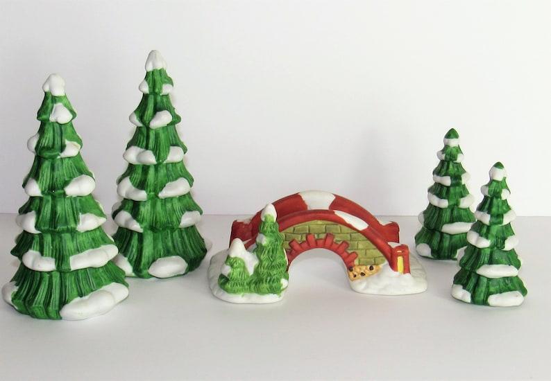 Christmas Village Accessories.Ceramic Trees And Foot Bridge Christmas Village Accessories Matte Finish Tallest Tree Is 4 3 4 Decoration Or Repurpose