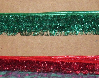 "Vintage Green Tinsel Fringe Trim, for crafts or repurposing, 5/8"", 5 yds, 30"""