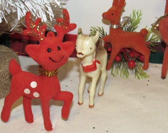 Vintage Christmas Deer, Group of 4, decoration or to repurpose
