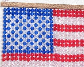 "American Flag, Plastic Beads,  12"" tall x 11"" wide, Patriotic, United States Flag"