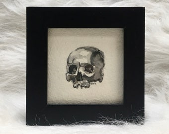 Minature human skull watercolor & ink painting in upcycled wooden frame. Original - not a print! Signed by the artist.