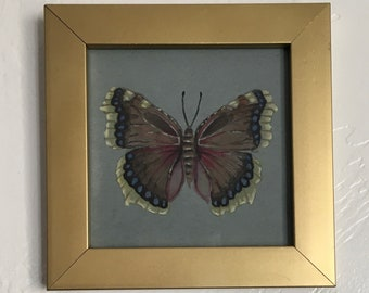 Original watercolor painting: Mourning Cloak (Nymphalis antiopa) ready to hang. Unique vintage nature illustration.