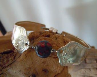 Vintage Spoon Handle Bracelet with Handmade Bead