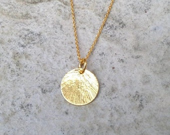 Gold disc pendant etsy gold disc necklace gold chain necklace gold pendant necklace gold necklace circle pendant textured necklace mothers day gift aloadofball Choice Image