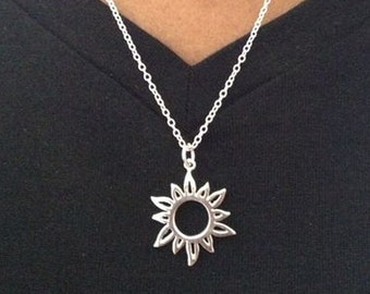Sun Necklace/ Silver Sun Necklace/ Hippie Necklace/ Sterling Silver Sun Necklace/ Gift For Her /  Mothers Day Gift