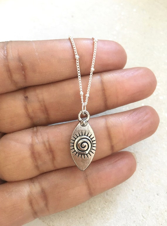 Silver Spiral Eye Necklace Sterling Silver Chain Boho 30th 40th Birthday Gift For Her 21st Letterbox Gift Dainty Boho Necklace