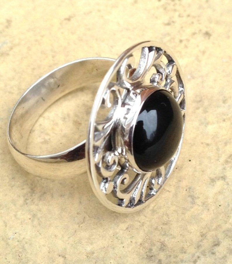 Black Agate Ring Black Gemstone Ring Sterling Silver Thumb Ring Statement Ring Sterling Silver Boho RingBoho Jewelry  Mothers Day Gift