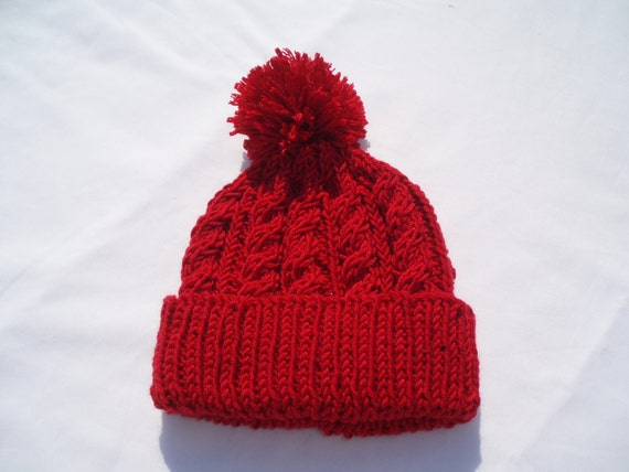 603b4f576e Red hand knitted aran beanie bobble hat sizes from 2 years