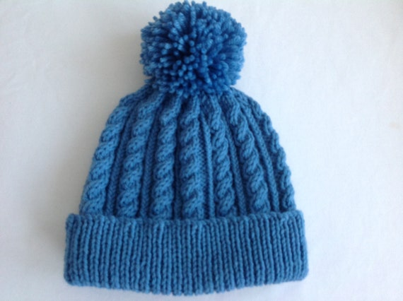11fb0025a0c Blue hand knitted aran beanie bobble hat unisex design to