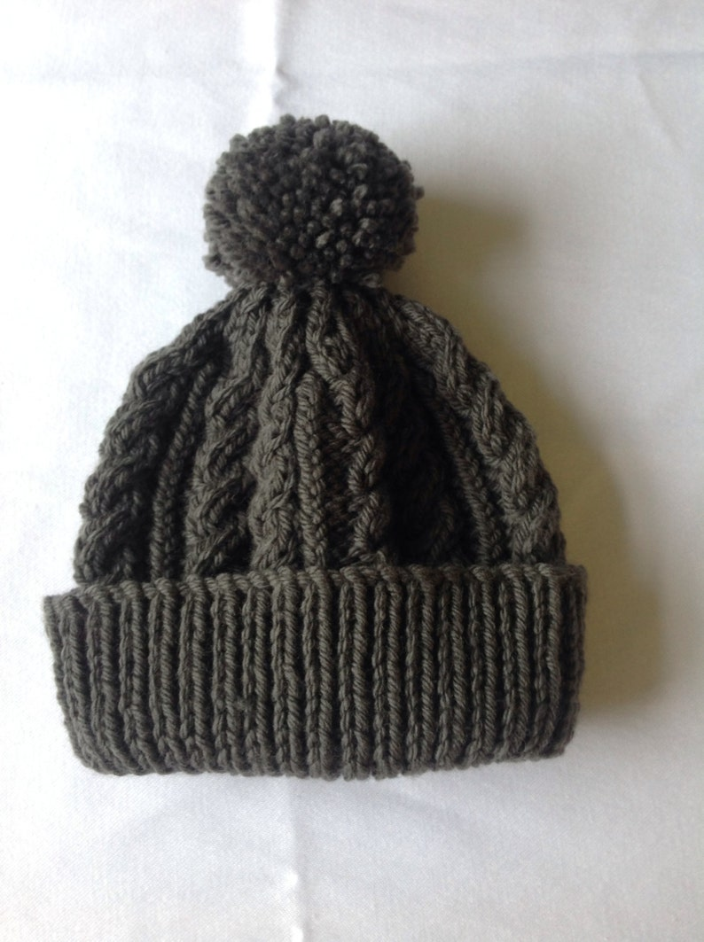 822026f544d Charcoal grey hand knitted aran beanie bobble hat unisex