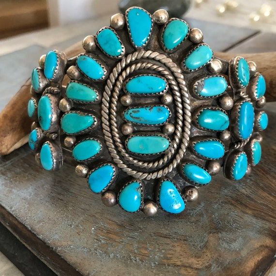 Exquisite vintage 1950s  Navajo cluster cuff high quality stones  unisex