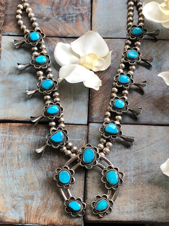 Gorgeous vintage Navajo turquoise and Sterling squash blossom necklace