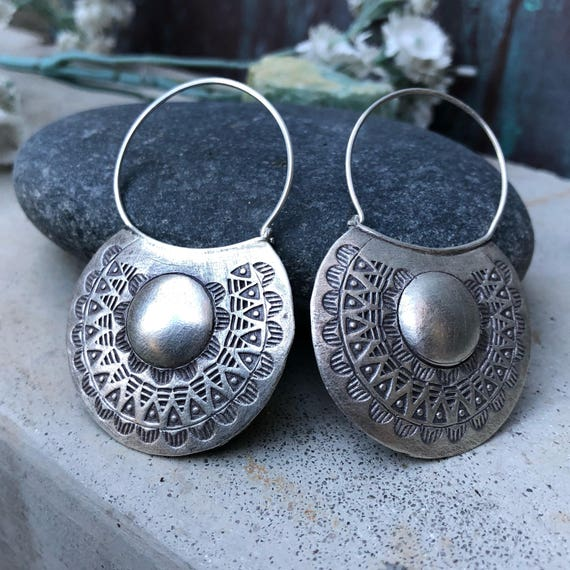 Fine silver handmade hoop earrings
