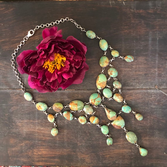 Handmade Royston turquoise and sterling bib necklace