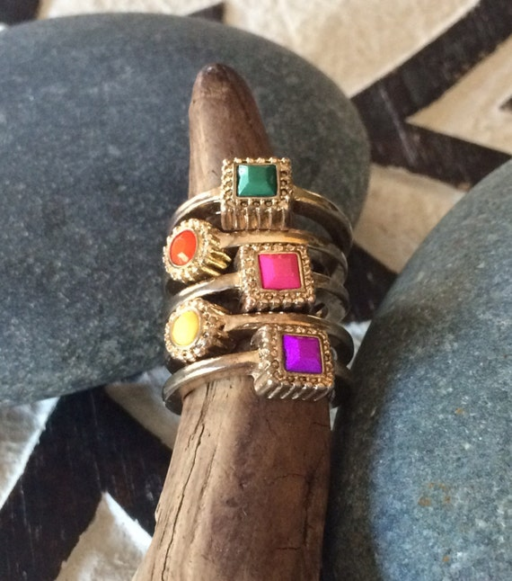 5 Vintage brass and glass beaded stackable rings  size 6- 6.75