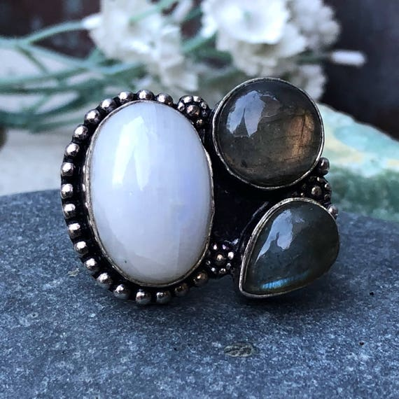 Sterling labradorite and moonstone ring size 6.75