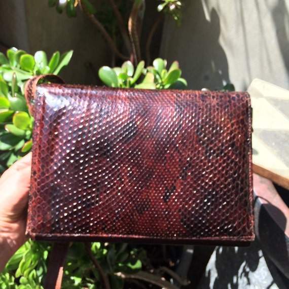 Vintage rich brown Handmade snakeskin and leather messenger bag