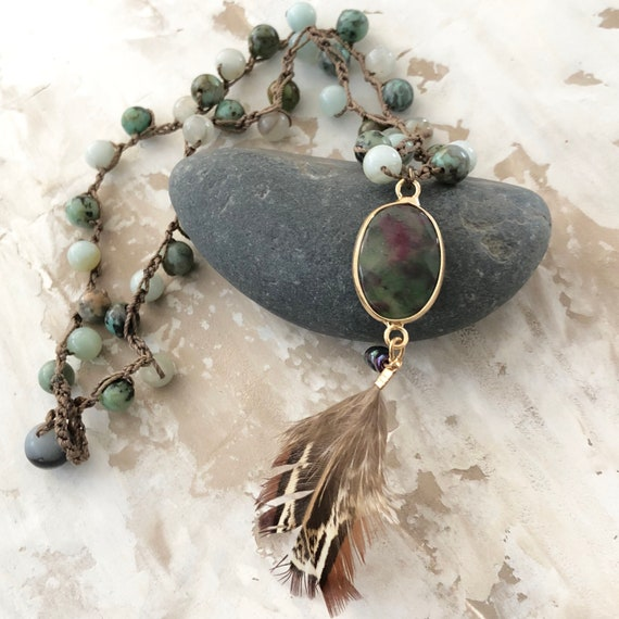 Handmade crochet natural gemstone feather necklace yoga meditation