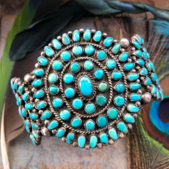 Vintage Zuni turquoise cluster snake eye cuff