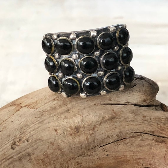 Vintage sterling and onyx multi stone wide band ring size 7