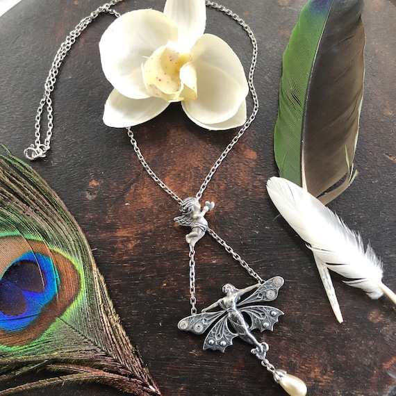 Vintage art deco fairy angel necklace sterling crystals and pearl