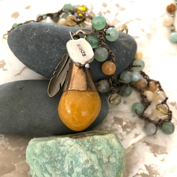 Handmade crochet citrine,brass, adventurine , amazonite necklace