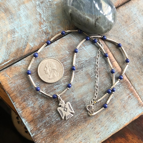 Vintage sterling lapis beaded necklace with thunderbird pendant