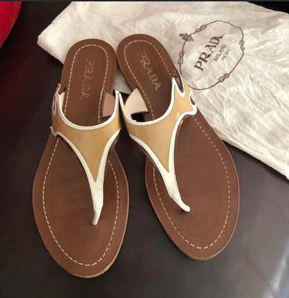 Retired Prada flame patent leather thongs size 37