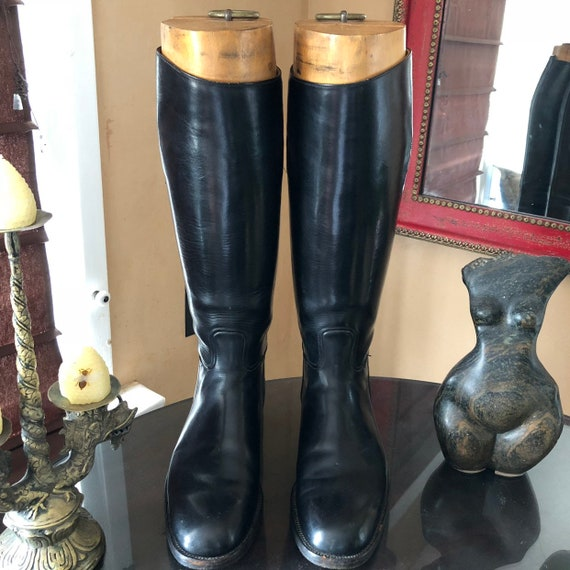Vintage Bespoke Mens English riding boots with wooden trees royal boot maker brand W&H Gidden size 9.5 /10 us 42/43 Euro  9/9.5 Uk