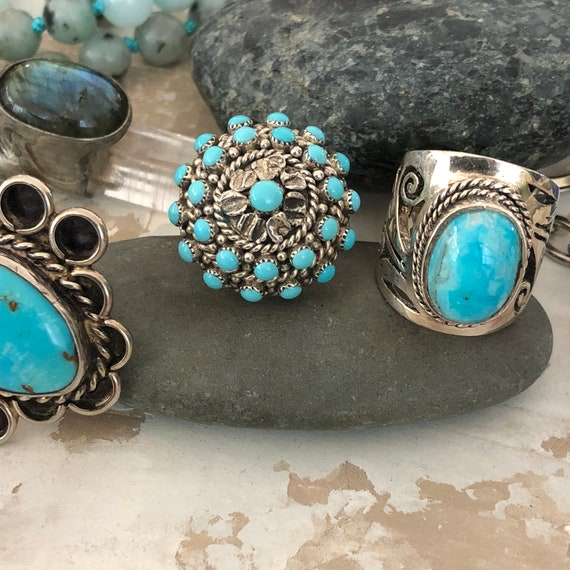 Gorgeous sterling and turquoise tribal ring  size 9